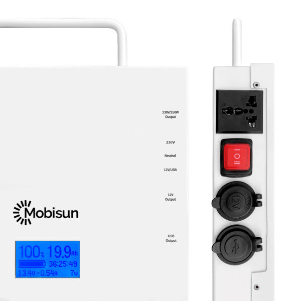 Mobisun Pro portable solar generator connections AC DC USB output