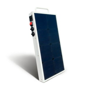Mobisun Pro portable solar generator frontside with solar panel frontside