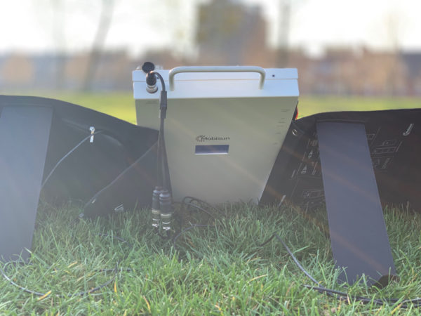 mobisun pro connected with portable solar panels 60W 100W