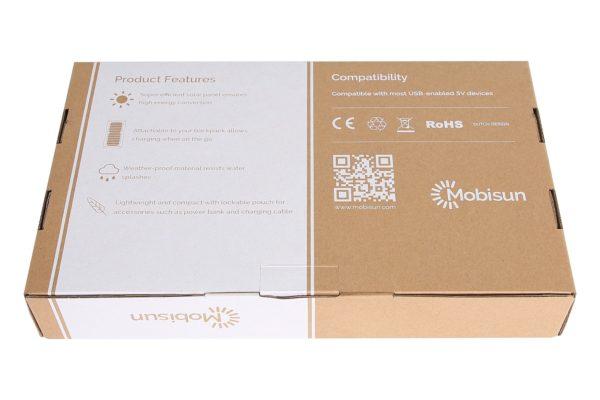 15W USB zonnepaneel doos Mobisun achterkant