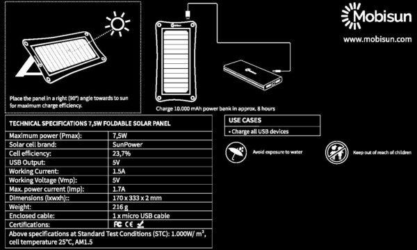 Manual 7,5W portable solar panel